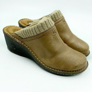 Ugg Gael Wedge Clog Womens Size 11 Brown Leather